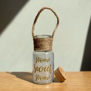 Home Sweet Home Glass Jar With String And Cork Lid